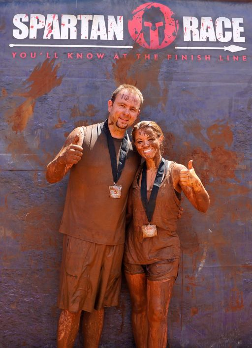 My husband, Ryan, & I after our first Spartan in Burnet, TX.