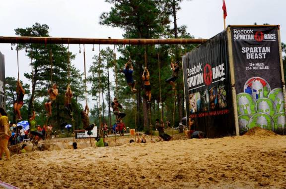My favorite obstacle, rope climbs!