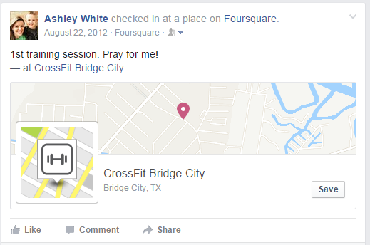August 22, 2012 - my first social check-in for CrossFit!